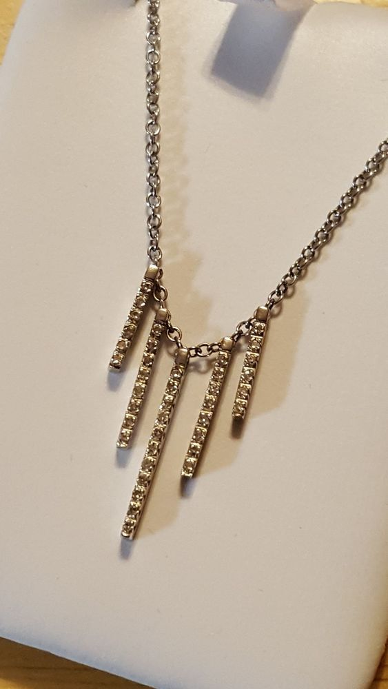 14k White Gold Diamond Five Bar Necklace #Cluster