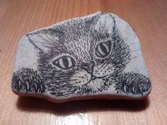 kitten, micronpen op steen (verkocht)