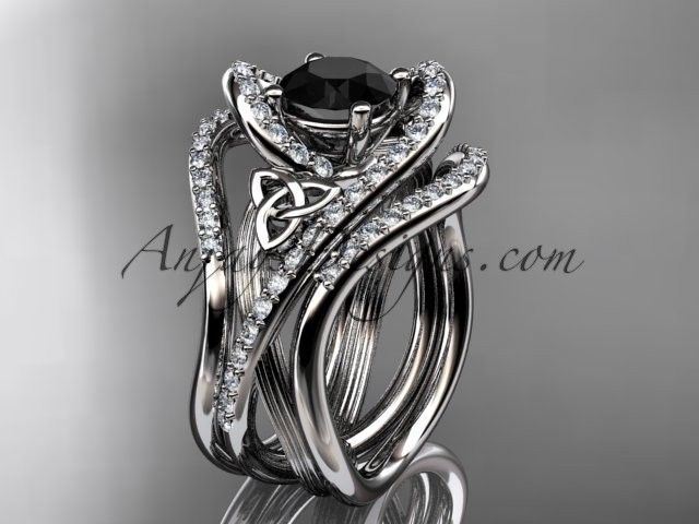 Looking for a black diamond engagement ring? - 14kt white gold diamond celtic trinity knot wedding ring, engagement ring with a Black Diamond center stone and double matching band  CT7369S