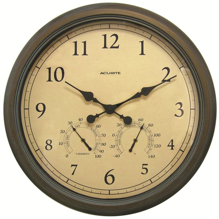 """Chaney AcuRite Oversized 24"""" Outdoor Clock Combo"""