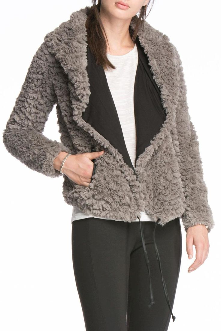 Always a good time to cozy up with this jacket! Pair with your favorite casual favs or compliment your dress wear with this chic piece. Hood and waist tie.   Grey Fur Jacket by Sassy & Chic. Clothing - Jackets, Coats & Blazers California