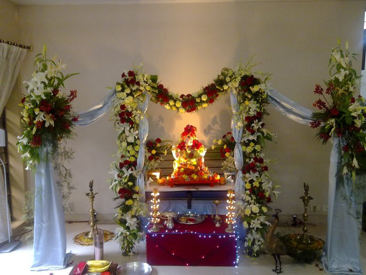 17 best images about ganpati 2015 on pinterest green for Artificial flower decoration mandap