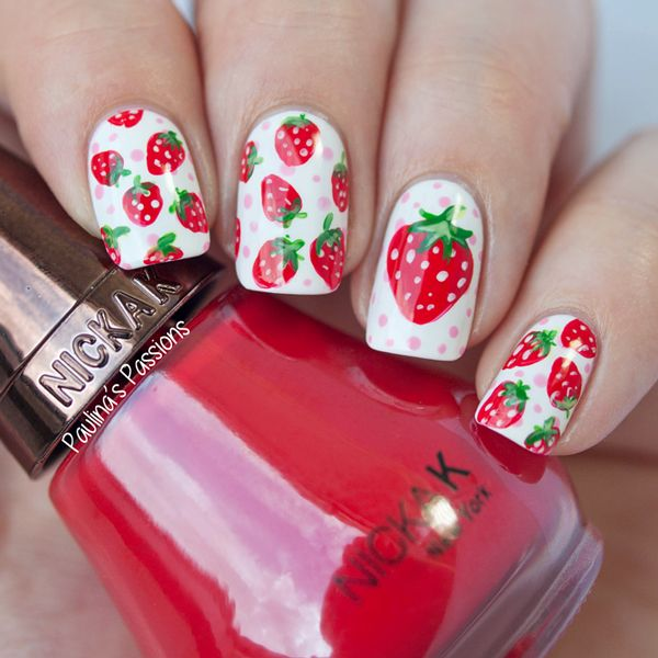 strawberry nail art | guest post by Paulina's Passions on Very Emily