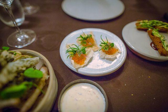 Marinated trout roe, puffed Rice, cucumber at Betony, #NewYork. [Eater 38 Member]