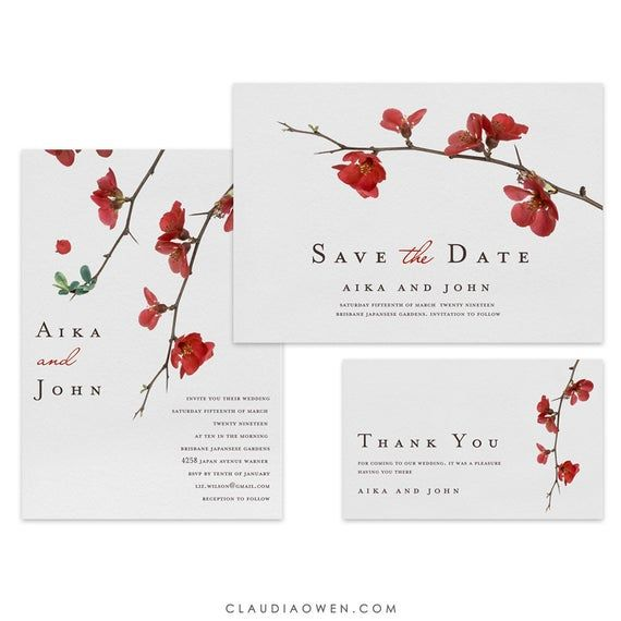 Partecipazioni Matrimonio Japan.Cherry Blossoms Japanese Wedding Invitation Spring Wedding