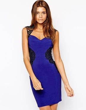 lipsy lace applique bodycon dress with open back cobalt blue