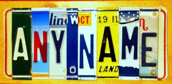 """Handmade """"Custom"""" License Plate Sign on Etsy, $40.00"""