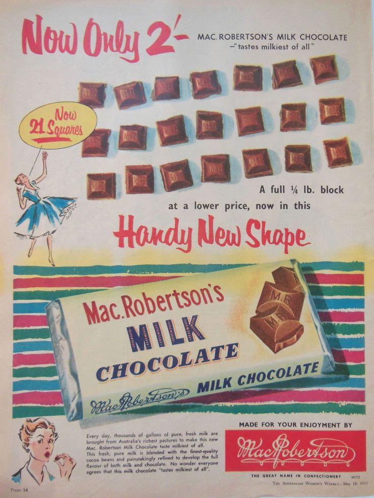MAC.ROBERTSON S MILK CHOCOLATE AD 1955 original vintage AUSTRALIAN advertising