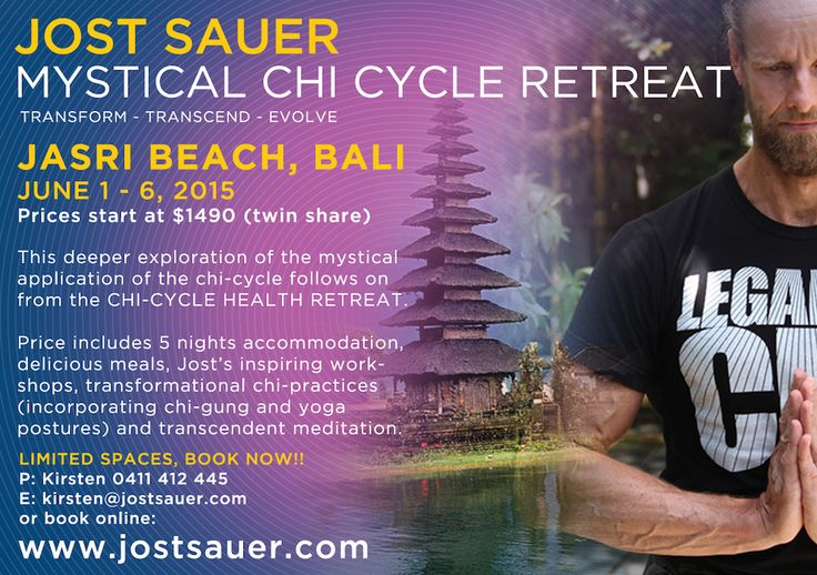 Jost Sauer in Bali Chi Cycle event  Online registration forms will be available shortly. meanwhile if you would like to book your place please phone or email Kirsten m. 0411412445  kirsten@jostsauer.com