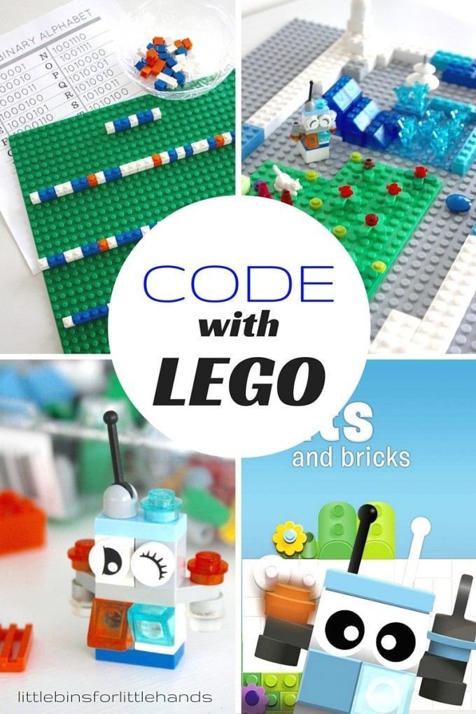 LEGO Computer Coding. Learn about computer coding with LEGO. Check out LEGO Hour of Code. Make a DIY LEGO coding game. Build Bit the Bot. Learn about the ASCII Binary Alphabet and write code with LEGO bricks. Hands on LEGO computer coding activities with and without a computer. Perfect for kindergarten through grade school.