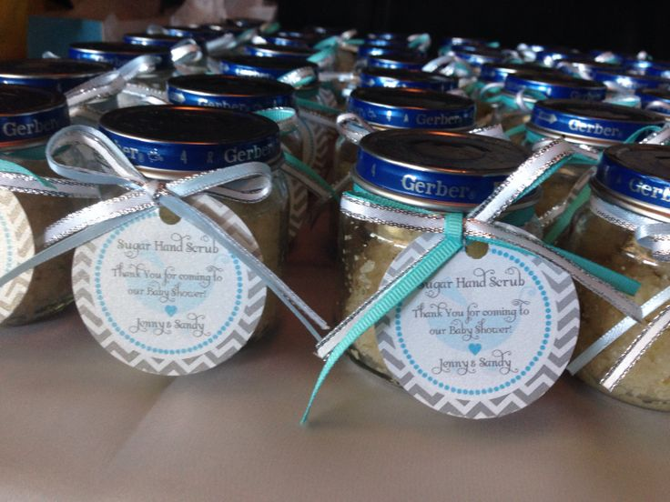 Home-made coconut lime hand scrub for favors! Use Gerber jars for a super chic baby shower!
