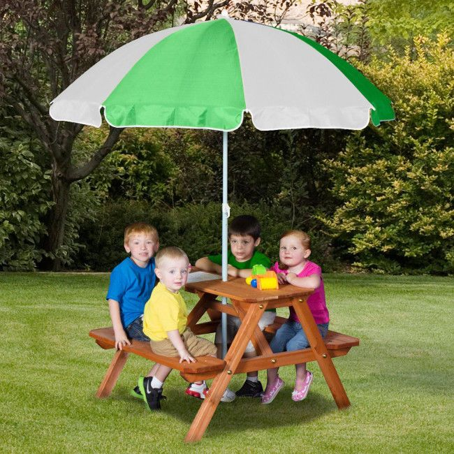 Kids Picnic Table Umbrella Wooden Outdoor Garden Play Dining Sturdy 4 Seat Bench #kidspicnictable #smallpicnictable #woodpicnictable #picnictable