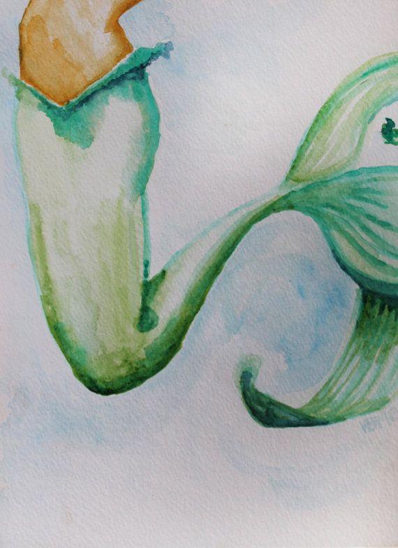 Fine Art Print Watercolor mermaid Fishtail 9 in. x 12 by ArtbyVBM