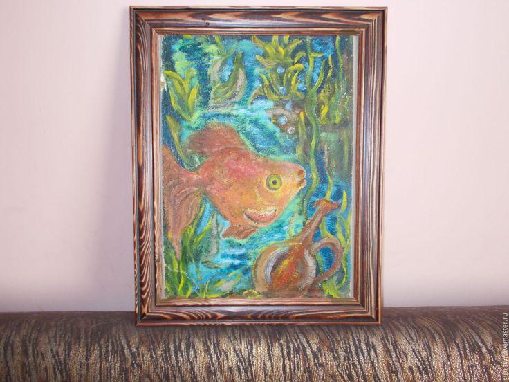 Купить Золотая Рыбка масло,картон,ручная работа - комбинированный, картина о животных, золотая рабка