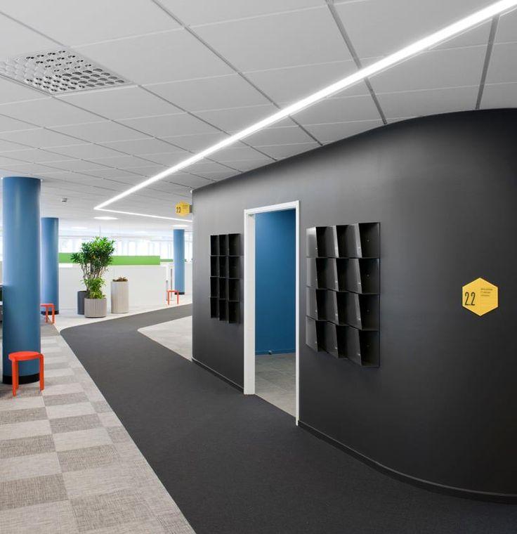 Blue grey hint of orange corporate lobby ideas for Corporate office design ideas