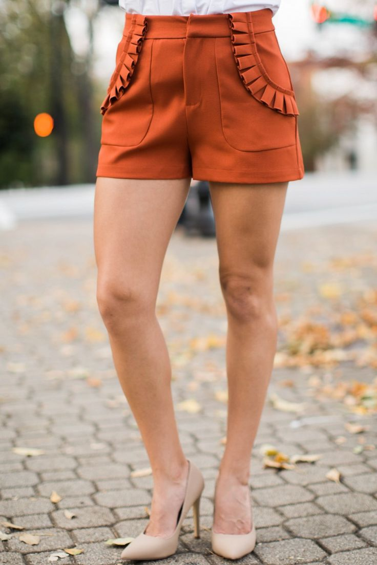 Small Town Sass Orange Shorts at reddressboutique.com