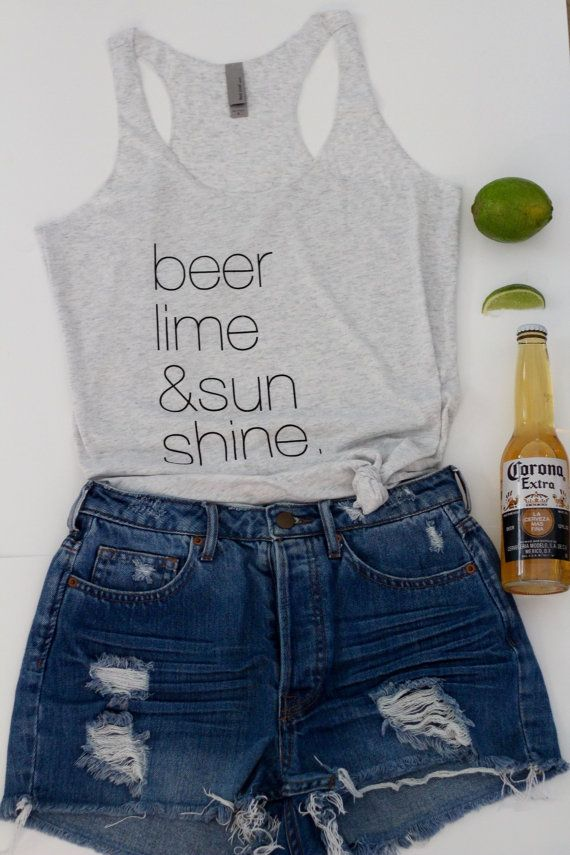 This is everything!! Beer Lime and Sunshine Summer Tank. Beer Tank. by geminiinabottle