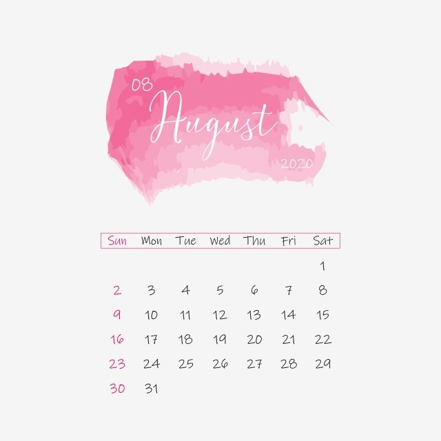 August 2020 Calendar Clipart Png Vector Element Vector and PNG in