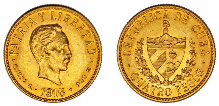 4 GOLD PESOS/ORO. GREATER ANTILLES-ANTILLAS MAYORES. JOSÉ MARTÍ. 1916. XF+/EBC+.