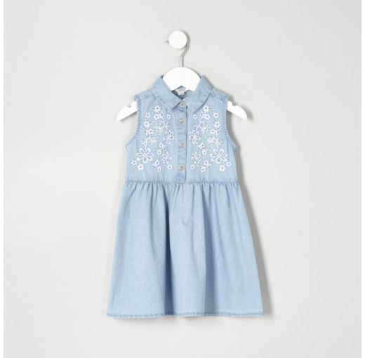 Checkout this Mini girls blue embroidered denim dress from River Island