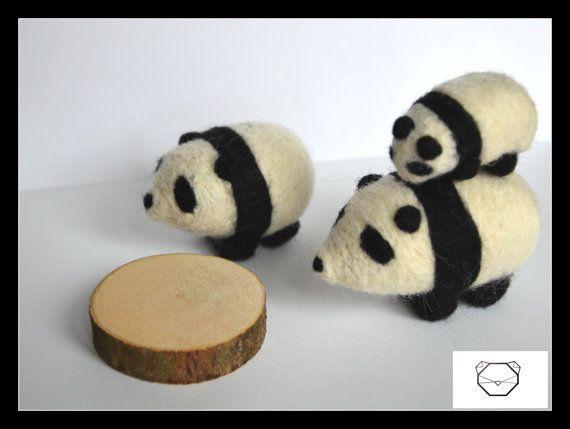 Panda Family  Needlefelted Panda  Handmade animal  by KubuHandmade