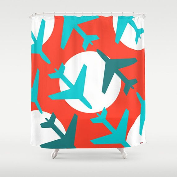 Modern Shower Curtain, red and blue Shower Curtain, Designer Bathroom decor, Airplanes shower curtain, colors on Etsy, 81,18 €