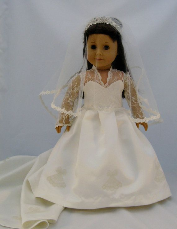 Kate Middletons wedding gown, sized for American Girl Dolls. This hand made custom gown is available at EnchantedDesigner.etsy.com