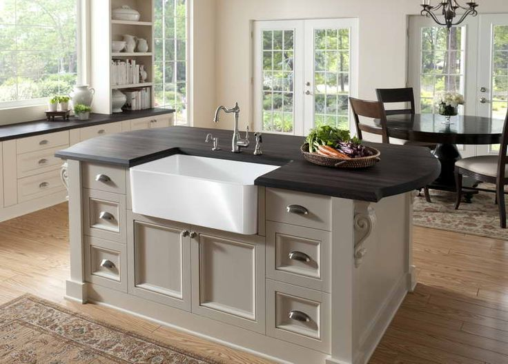 image 13 of 25 from gallery of gorgeous apron front sink design for kitchen makeover rectangle white acrylic sink on pale white wooden kitchen islands