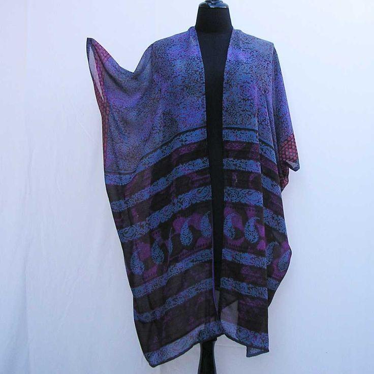Purple Kimono, plus size kimono, boho kimono, purple sari kimono, 1x 2x 3x 4x 5x 6x kimono, plus size dressing gown, plus size robe cover up by Rethreading on Etsy