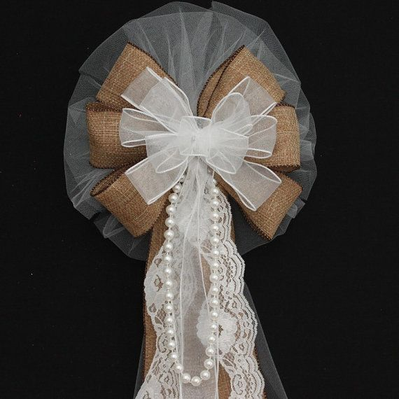 burlap and lace pearls white wire edge rustic wedding bows pew church aisle decorations