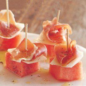 Watermelon, Manchego and Serrano Ham Skewers