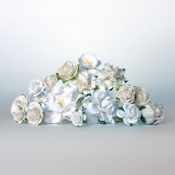 Maybe a winter flower crown? DIY White Flower Crown Kit DIY Bridal by OhDinaFlowerCrowns