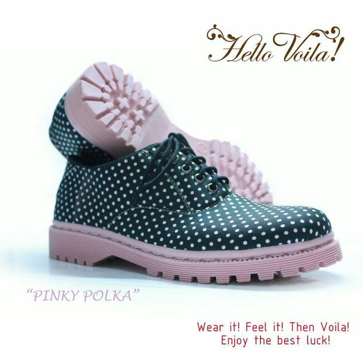 pinky polca #oxfords #vintage #handmade #fashion #polcadot #rope #polca #dot #voila #boot #docmart #pink