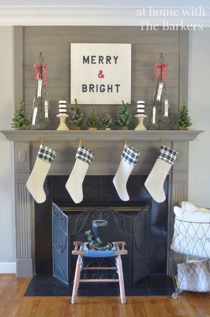 Christmas Mantel- Vintage, Black and White, Plaid