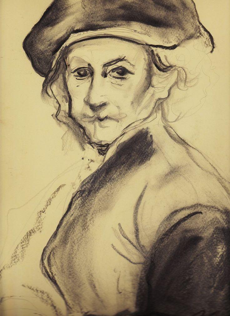 carboncino by clipscione.deviantart.com on @deviantART - Carboncino su cartoncino, riproduzione da Rembrandt // disegno per book scolastico 2011 ANTONELLA LEONI