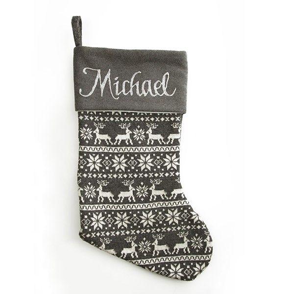 Personalised Stocking   Grey Knitted Stocking