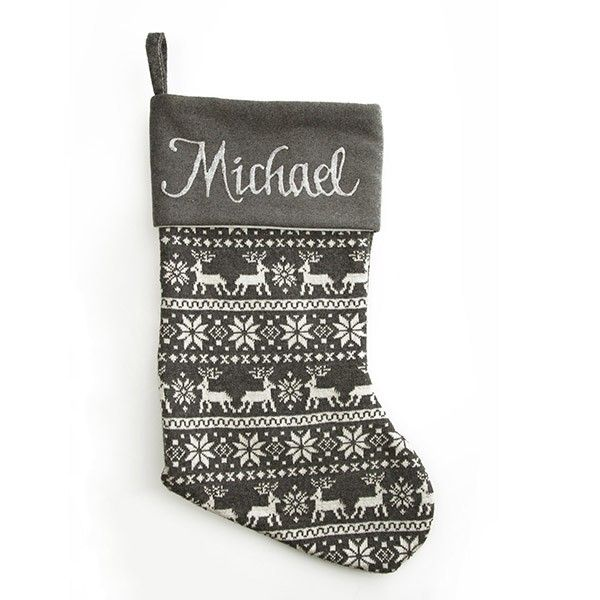 Personalised Stocking | Grey Knitted Stocking
