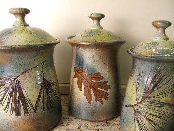 "CANNISTER  SET Lidded Jars Kitchen Cannisters with tree leaves in ""Green Leaf"" Glaze"