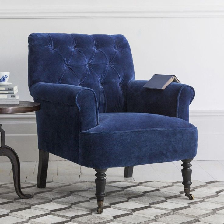 Pimlico Button Back Blue Velvet Armchair - Due end Oct