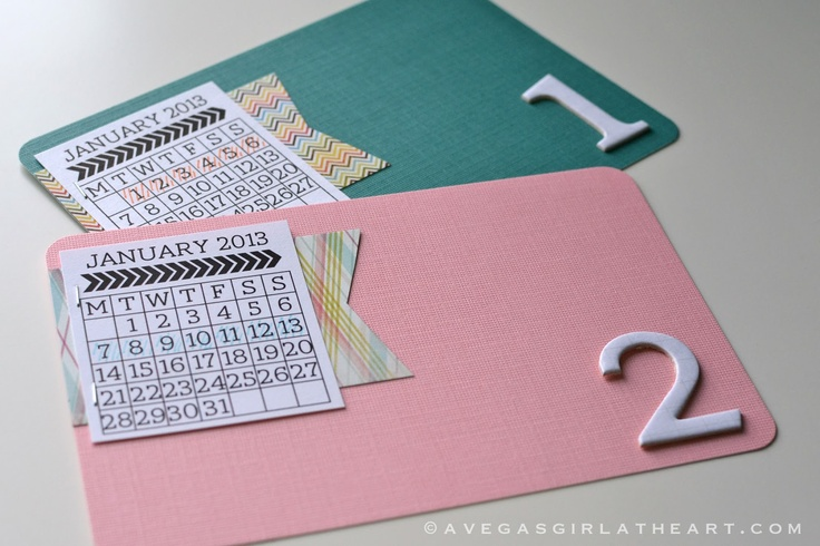 What a fun way to include a calendar in each PL week!  A Vegas Girl at Heart: 2013 Project Life Album Reveal (& A Freebie)