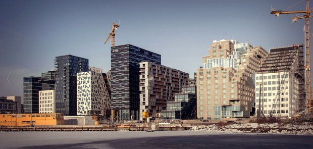 Barcode project - Opera Kvarteret designed by Dark Arkitekter (Oslo), A-Lab (Oslo) i MVRDV (Rotterdam); Bjørvika / Oslo / Norway