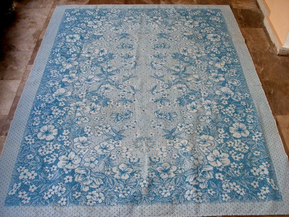 Cerulean!!! Vintage Damask Tablecloth or Bedspread Tapestry by VintageHomeStories, #Vintage #HomeDecor #Cerulean #Damask #Tablecloth #Bedspread #KitchenDecor #BedroomDecor #CottageChic #Mediterranean #Spring #Summer #VintageHomeStories