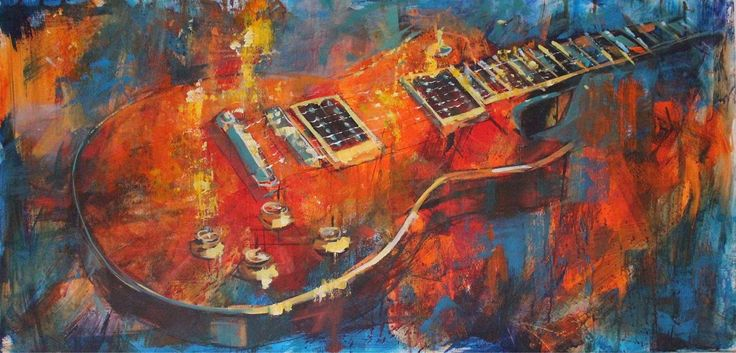 Gibson Les Paul. Oil on canvas. 100cms by 50 cams. Www.jamelakib.com
