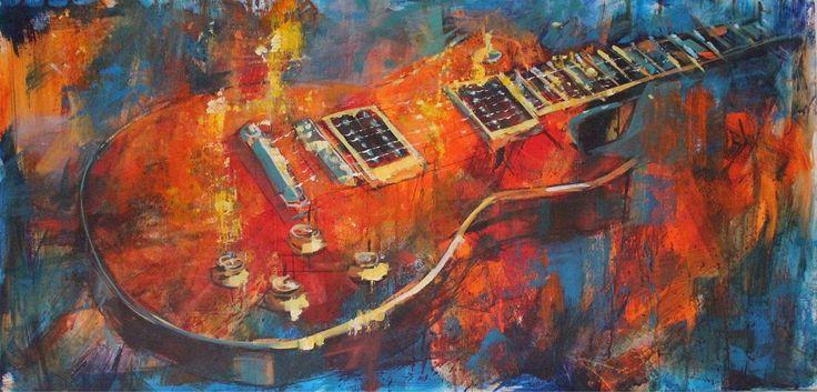 Gibson Les Paul. Oil on canvas. 100cms by 50 cams. Www.jamelakib.com