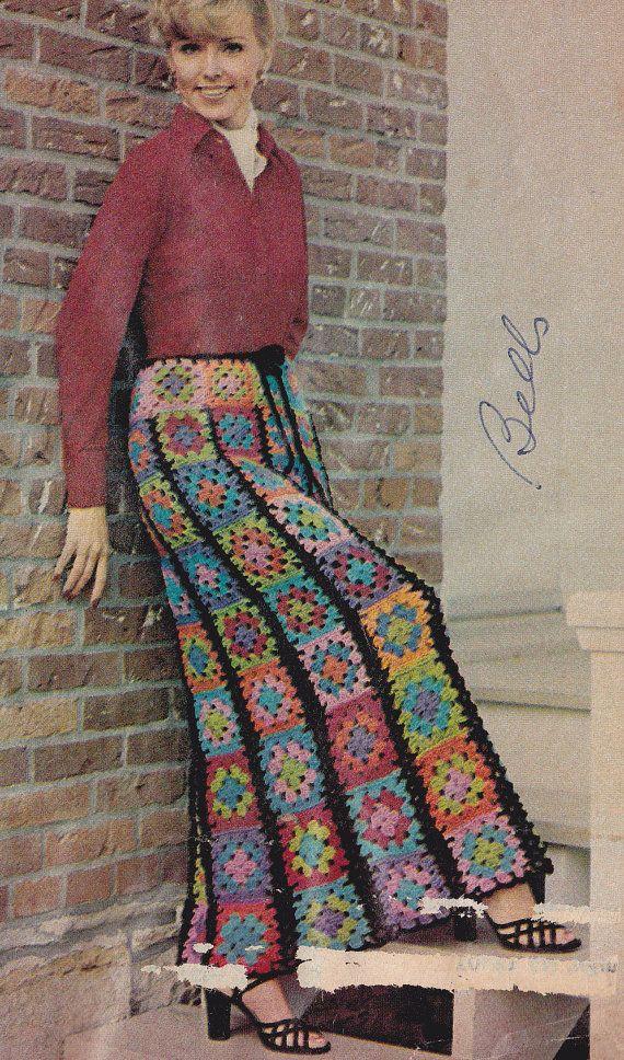 Vintage Crochet 1976 Long Granny Square Skirt PDF Pattern Instant Download