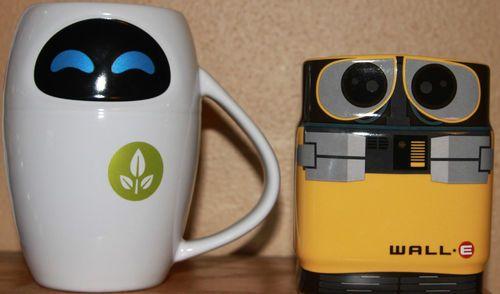Disney Wall E Eve Ceramic Coffee Mug Set Lot 2. {These are precious!} <3