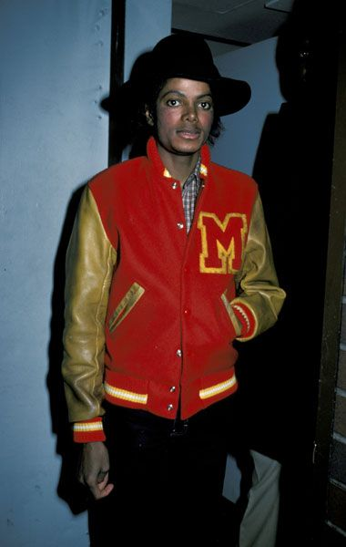Michael Jackson rocking a traditional leather sleeved mustard and scarlet letterman with an obligatory 'M'. http://www.dazeddigital.com/fashion/article/14749/1/red-stripe-x-boiler-room-competition