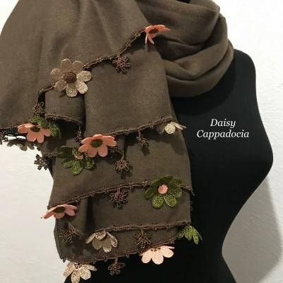 The elegant stole is decorated by Tığ OYA lace which is Turkish traditional la…