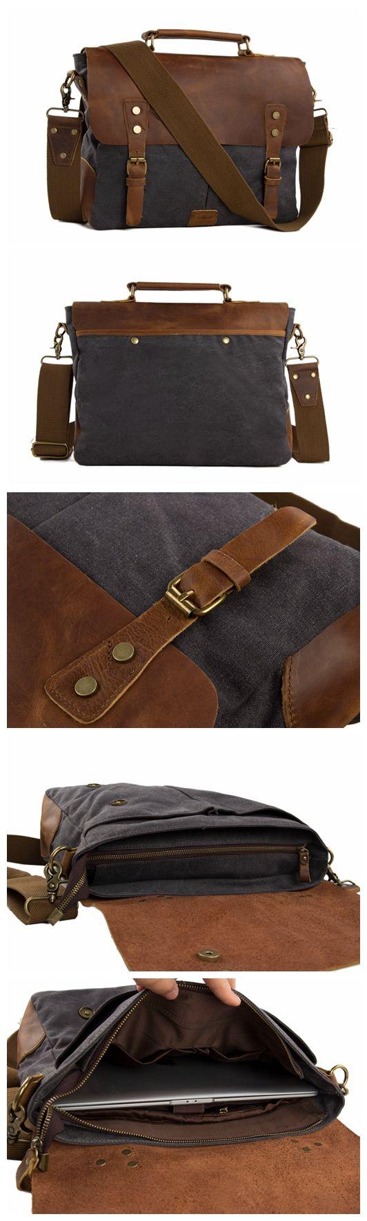 Vintage Canvas Leather Laptop Messenger Bag Crossbody Shoulder Bag Leather Briefcase Bag
