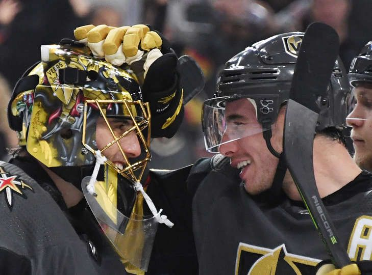 Las Vegas Nevada September 28 Marc Andre Fleury L 29 And Reilly Smith 19 Of The Vegas Golden Knig Golden Knights Vegas Golden Knights Los Angeles Kings